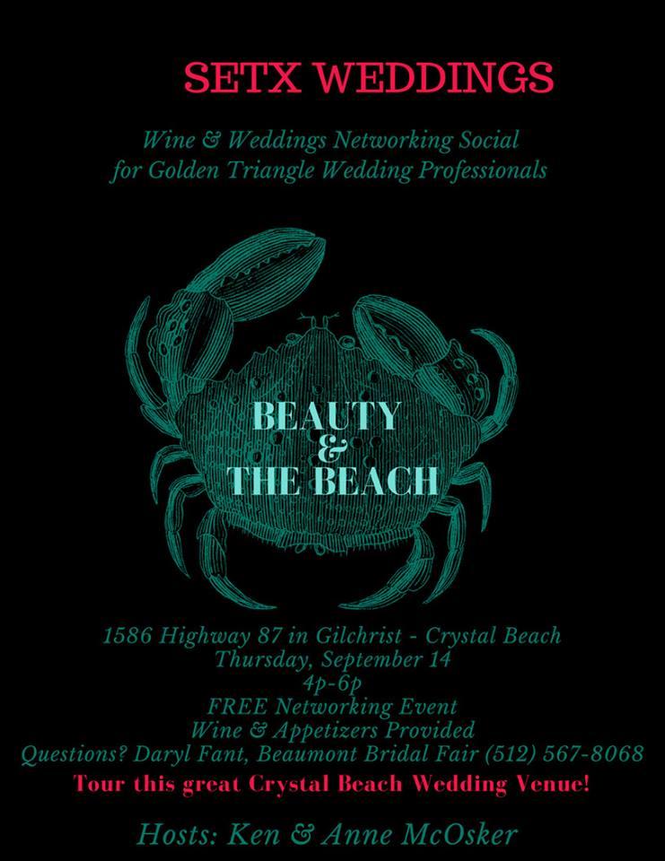 wine and weddings crystal beach, networking event crystal beach, networking event port arthur, networking event beaumont tx, networking event winnie tx