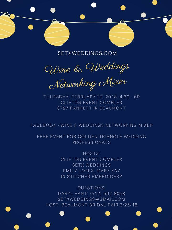 wine & weddings Beaumont, wine and weddings Southeast Texas, wedding mixer Beaumont, wedding professional mixer Beaumont, wedding vendor networking Beaumont TX, Southeast Texas wedding professionals, SETX wedding vendors,